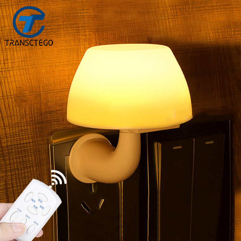 TRANSCTEGO Led night light Remote control household bedroom baby mushroom small night lamp Wall Socket home Decoration remote control colorful cartoon led decoration night light