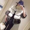 Женщины Вся Кожа Натурального Меха Лисы Пальто Натурального Меха Лисы пальто Мода Натурального Меха Фокс Зима Теплая Куртки Feminino 50*40 C34