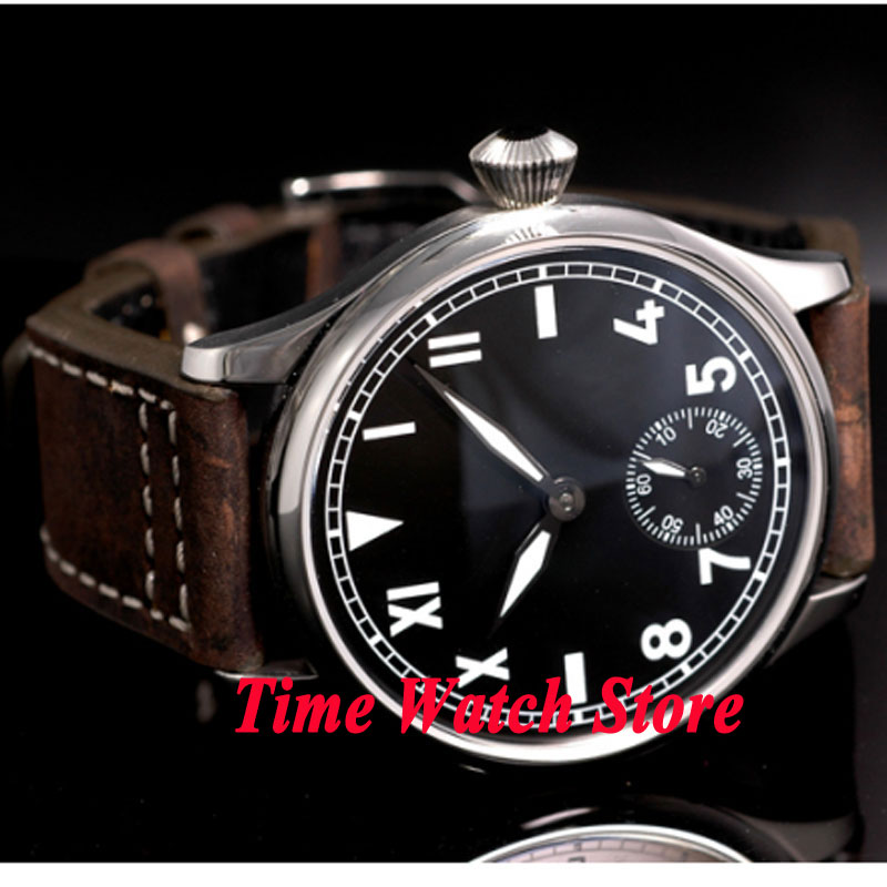Saatler'ten Mekanik Saatler'de Vintage 44mm Parnis Hiçbir logo siyah california arama ışık 17 jewels mekanik Asya 6498 el sarma hareketi erkek saati P7'da  Grup 3