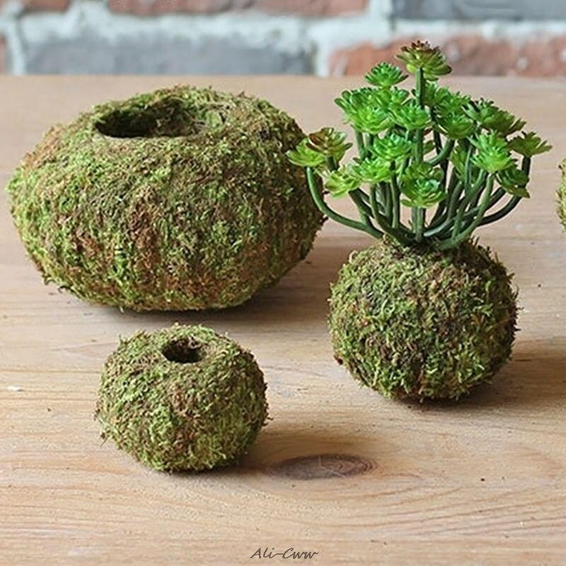 Moss Ball Pot Bird Nest Flower Plant Home Office Desk Table Garden DIY Decoration