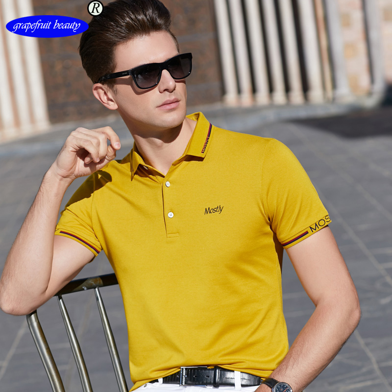 Grapefruit beauty 2019 Cotton Summer mens short sleeve solid color polos  casual lapel Fashion brand tops