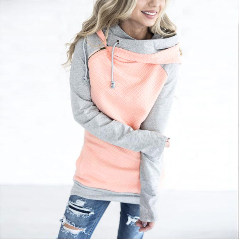 New Spring Women Hooded Hoodies Mix Color Gray Pink White Patchwork Pullover Outwear