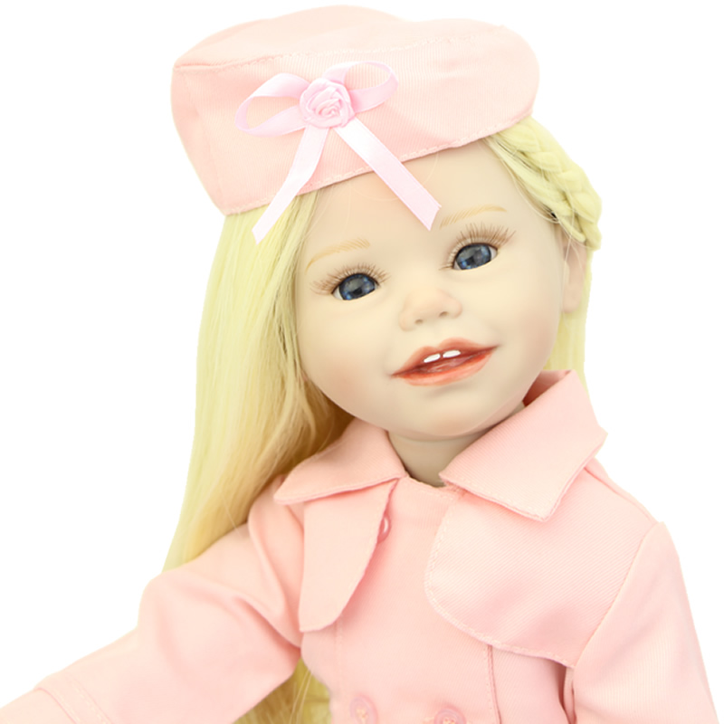 NPK Collection 18 Inch American Doll Girl Full Vinyl Princess Girl Dolls With Pink Clothes Children Birthday Gift lifelike blue eyes 18 inch girl american doll full vinyl princess dolls with blue nursing clothing set children birthday gift