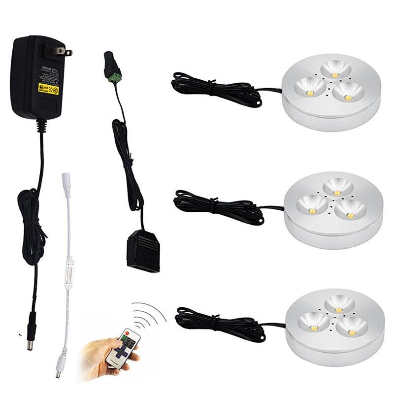 LED Under Cabinet Lights Kit Surface Mounted 3x3W Aluminum Puck Lamps for Kitchen Counter Lighting with