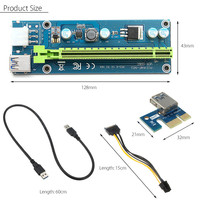 60cm PCI Express 1x to 16x Riser Card Adapter Expander PCI-E Extender Stable Version USB3.0 SATA 15pin Power Cable For BTC