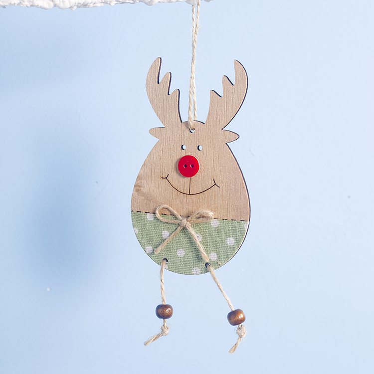 Cute Cartoon Smile Elk Wooden Ornament Christmas Tree Decoration Hanging Pendant Xmas Party Decor for Home Kids Gift Animal 2020 26