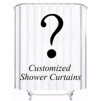 Brand Logo Customized Shower Curtain Waterproof Polyester Fabric 4 Sizes Shower Curtain For The Bathroom With