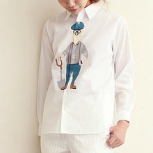 Women's White Blouses Cute Spring Autumn New Cartoon Printing Turn-down Collar Girl's Shirts Fashion Loose Preppy Style