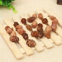 32 unids/lote Flores Secas Natural del cono del pino decorativo hecho a mano Flores Secas para la decoración de la casa DIY fabricación de accesorios