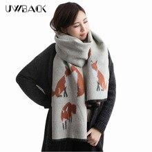Женщины зимние шарфы 2016 искусственного кашемир фокс мода толстые теплые 200*65 см дамы шарфы KK103