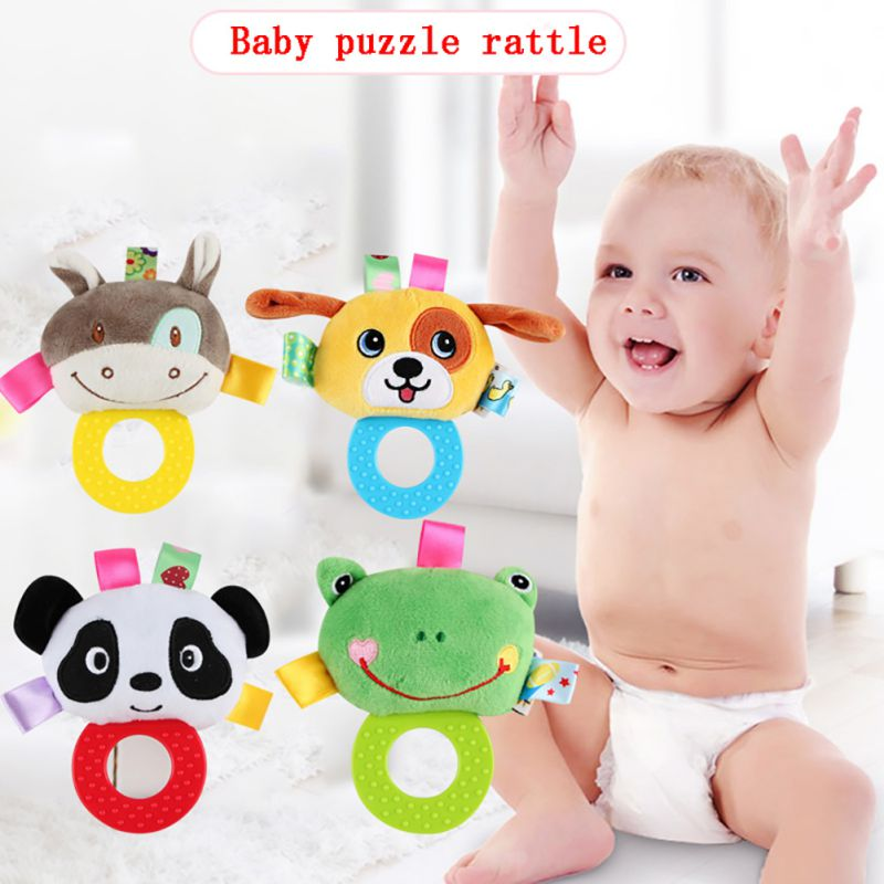 Baby Puzzle Rattles Lathe Hanging Ring Animal Rattle Crib Hanging Baby Stroller Hanging Toys Stuffed Soft Toys