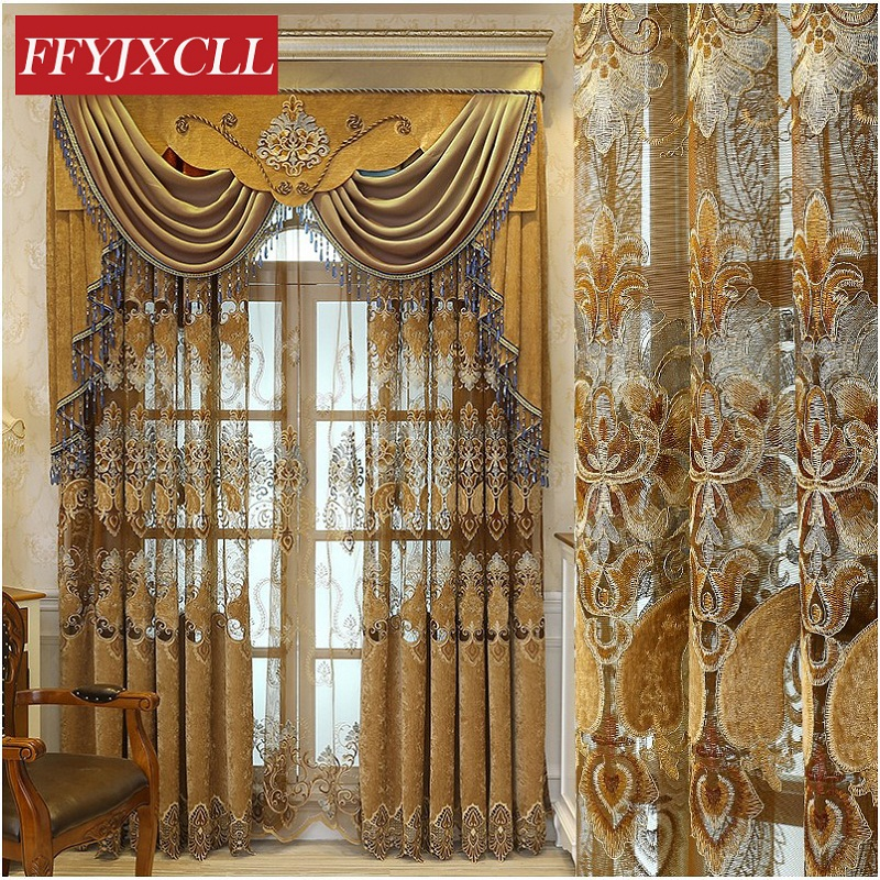 US $22.45 55% OFF|Europe Home Decoration Luxury Valance Curtains For living  Room Bedroom Windows Flowers Embroidered Curtains Fabric Tulle-in Curtains  ...