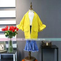 2018 New Spring Childrens Jackets Korean Girls Wear Exaggerated Horn Sleeves Nail Beads Bright Yellow Suit