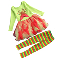 Children Long Sleeve Dress Striped Colorful Pants Baby Girl Christmas Outfits Elk Pattern Casual Suit Set Halloween Clothes 343