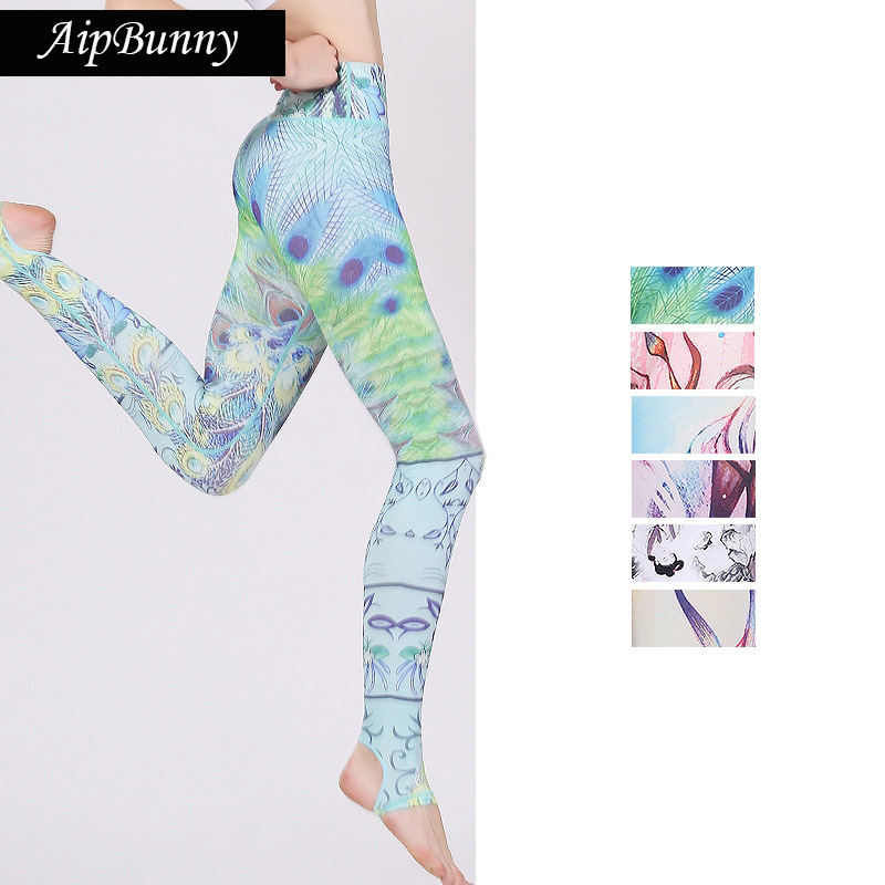 Aipbunny 2017 Printed Fitness Yoga Pants Women High Quality Capris Pants Slim Jogging Leggings Elastic Gym Tights Sports leggins