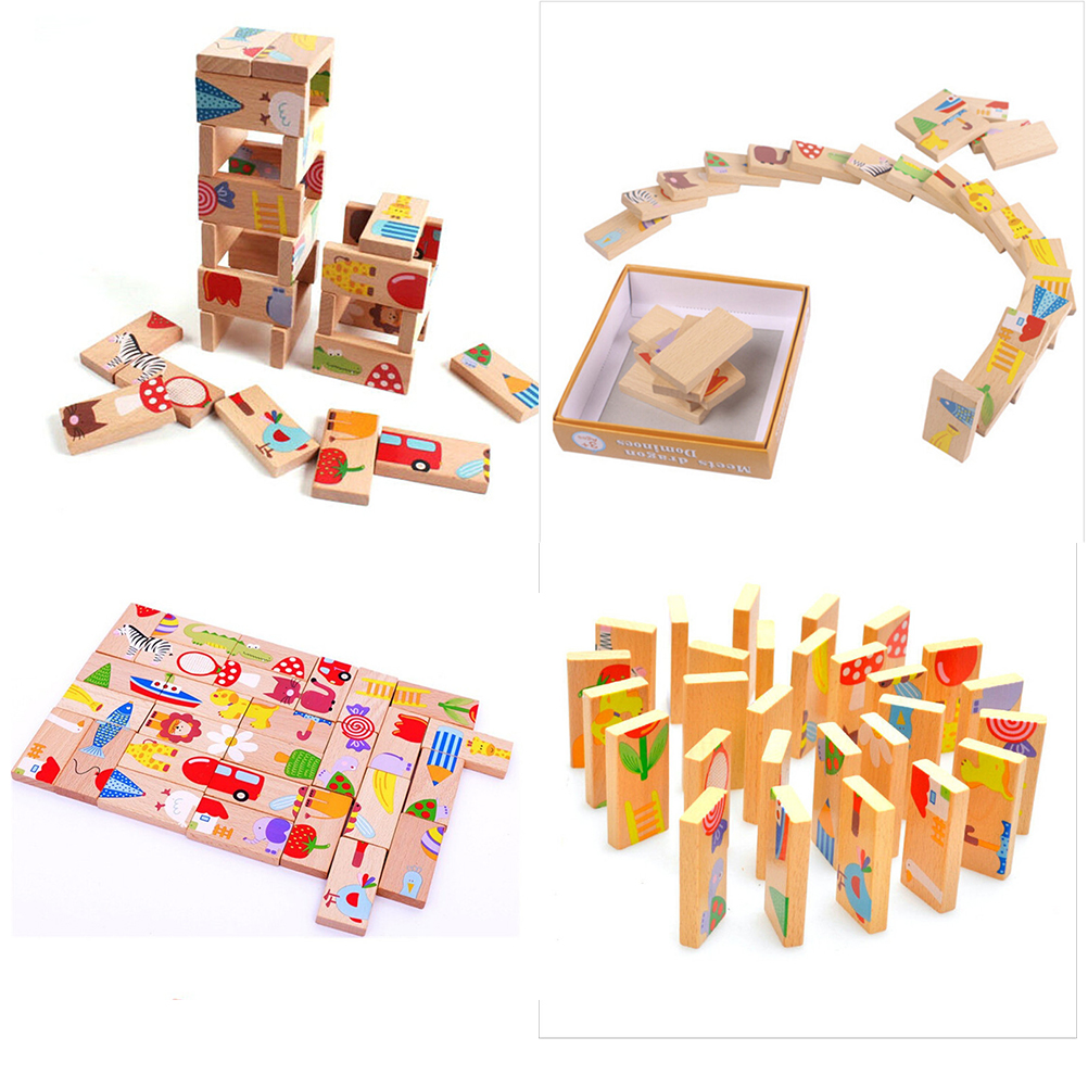 28Pcs Wooden Animal Colored Dominoes Puzzle Cartoon ...