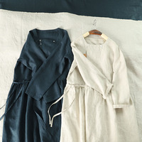 Autumn New Women Casual Loose Plus Size Japanese Style Mori Girls Comfortable Thin Water Washed Linen Cardigan Dresses 2 Colors