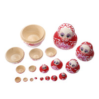 10PCS Wooden Hand Painted Craft Russian Nesting Dolls Braid Girl Traditional Matryoshka Dolls Decoration Gifts