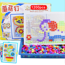 DOLLRYGA 1200pcs 900pcs 600pcs Mushroom Nail Intelligent 3D Puzzle Game For Kid Plastic Flashboard Educational Toys For Children