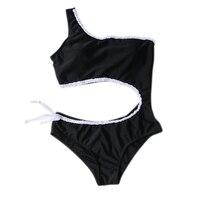 7fb2742fc93c Traje de baño para mujer 2019 nueva pieza traje sólido Sexy corte alto  Monokini ahuecado Biquini un hombro