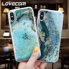 LOVECOM Vintage Marmeren Textuur Goud Poeder Gevallen Voor iPhone XS Max XR X XS 6 6S 7 8 Plus full Body Zachte Epoxy Telefoon Back Cover(China)