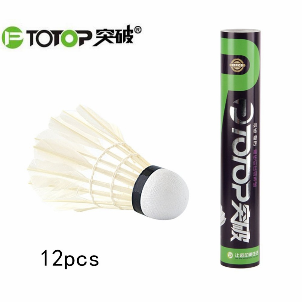 PTOTOP 4168 Natural White Goose Feather 12pcs Badminton Training Ball Exquisite Workmanship Sport Badminton Shuttlecocks Ball