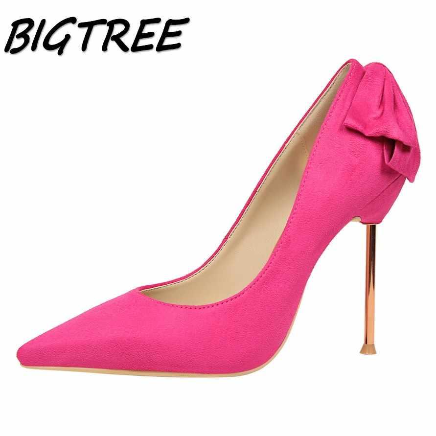 BIGTREE ผู้หญิง Pointed Toe รองเท้าส้นสูงรองเท้าผู้หญิงตื้นปั๊มสุภาพสตรีงานแต่งงานแฟชั่นผีเสื้อโลหะส้นรองเท้า