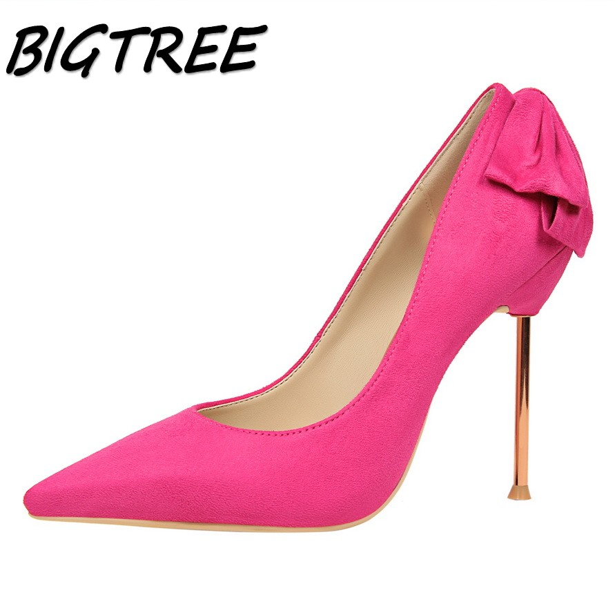 BIGTREE women Pointed Toe High heel shoes woman shallow pumps ladies Party wedding Fashion Butterfly-knot Metal heels shoes baoyafang bling womens wedding shoes high heels pumps women fashion shoes pointed toe ladies shallow sequined cloth female shoes
