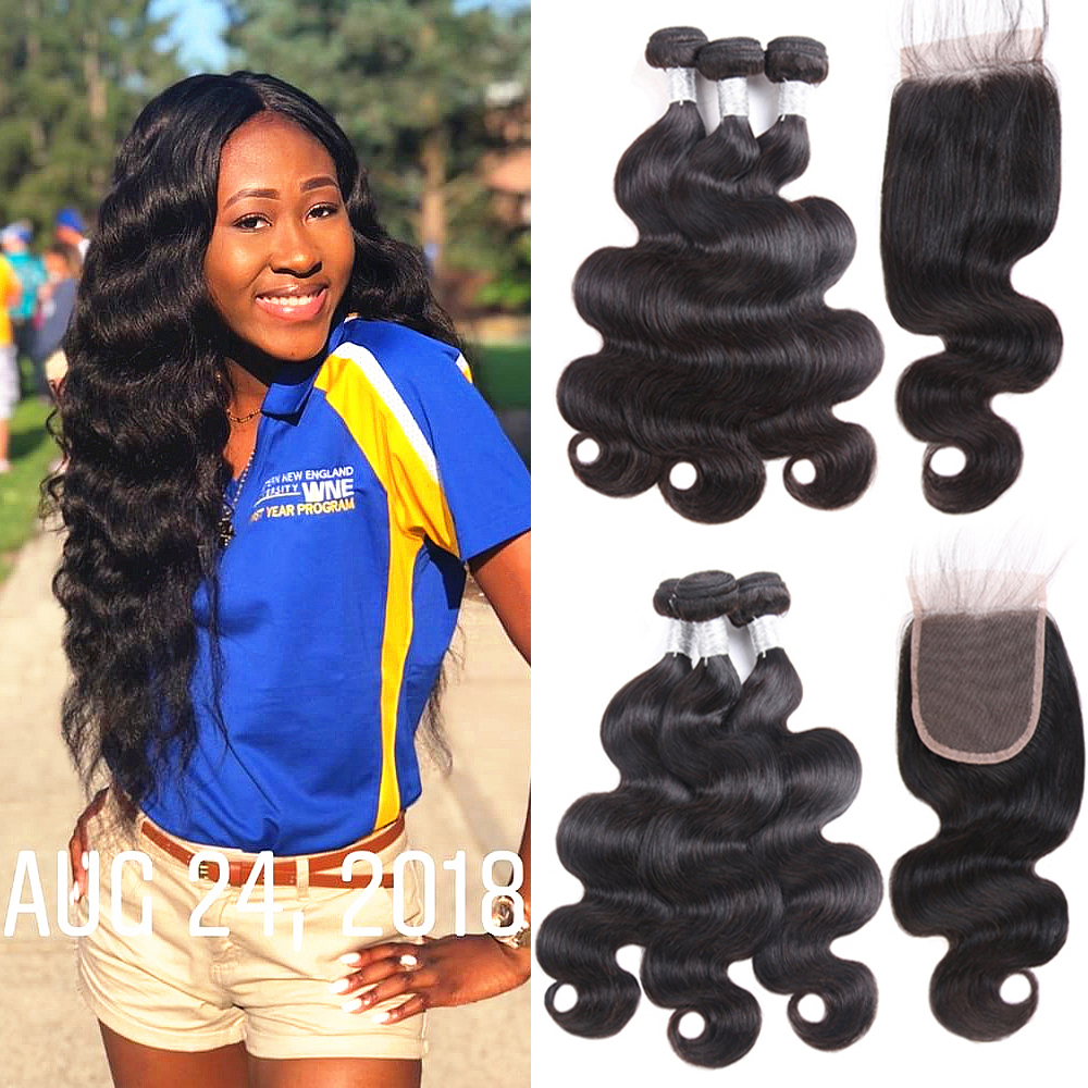 Queen Story Hair Brazilian Virgin Hair Body Wave Human Hair Bundles With Closure Brazilian Hair Weave Bundles With Closure
