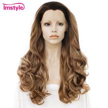 Imstyle Synthetic Lace Front Wig Dark Root Brown Wig Natural Soft Wavy Wigs For Women Heat Resistant Fiber Daily Cosplay Wig(China)