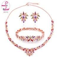 ZHE FAN Luxury Colorful AAA Zircon White Rose Gold Color Jewelry Flower Sets For Women Wedding 3 Pcs Necklace Earring Bracelet