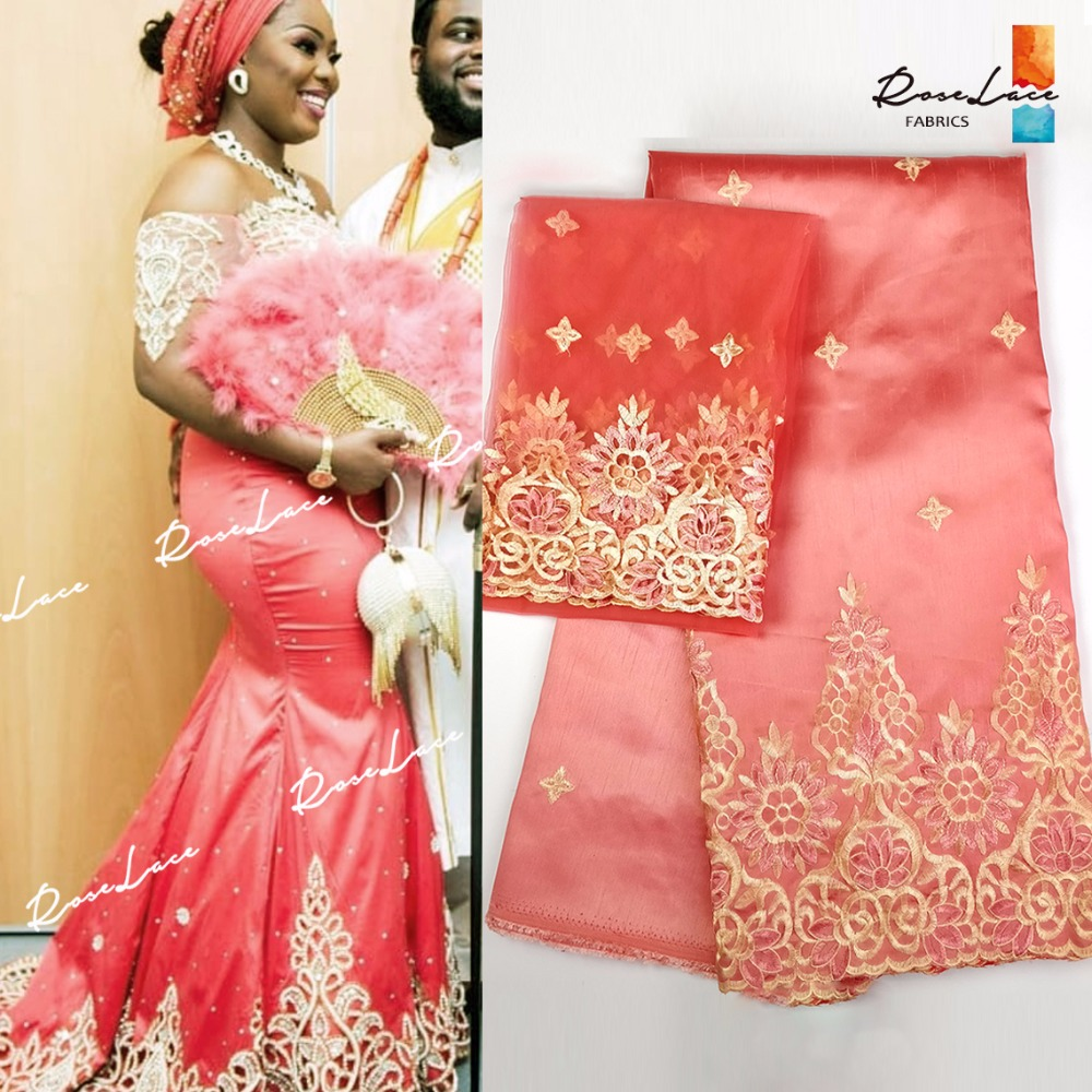 African Nigerian George Lace Fabric With Blouse NIgerian Embroidered Guipure Wedding Lace Material 2018 Latest Party