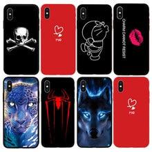 Fashion Pattern Cute Cat Black Soft Case for Apple iPhone 7 7 Plus 8 8Plus X Xs Max XR 5s 5 SE 6 6s Plus Phone Cover Coque цена и фото