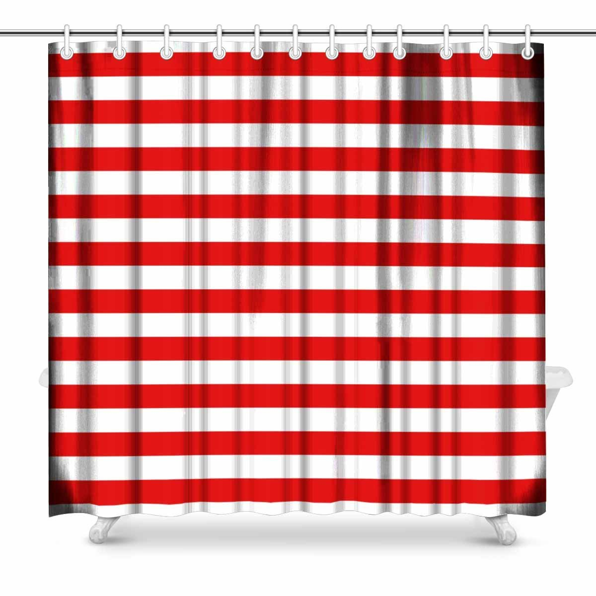 Us 16 57 35 Off Aplysia Abstract Geometric Horizontal Striped Pattern With Red And White Stripes Polyester Fabric Bathroom Shower Curtains In Shower