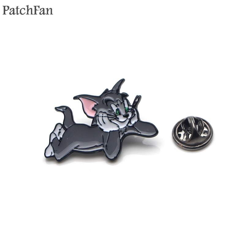 Apparel Sewing & Fabric 20pcs/lot Patchfan Cat And Mouse Zinc Tie Cartoon Funny Pins Backpack Clothes Brooches For Men Women Hat Decoration Badges A1515 Customers First