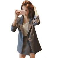 Women 2 Piece Sets Casual Blazer & High Waist Shorts Suits Office Ladies Blazer Two Pieces Sets Casual Streetwear Blazer Q1345