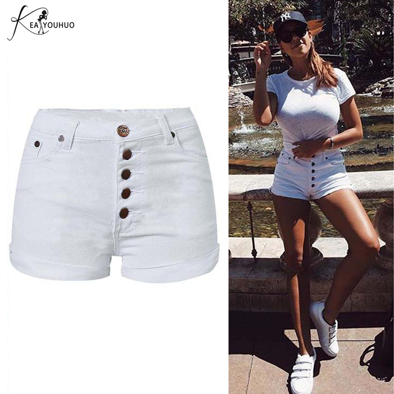<font><b>2018</b></font> Summer New High Waist Shorts <font><b>Sexy</b></font> Female White Jeans Denim Short For <font><b>Women</b></font> Shorts Booty Short Jeans <font><b>Pants</b></font> Feminino Mujer image