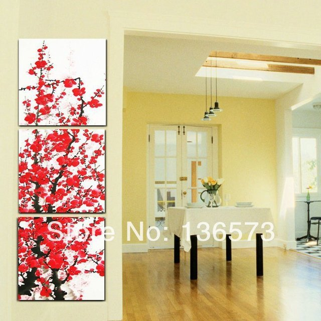 Hand Painted Cherry Blossom Painting 3 Piece Modern Abstract Black ...