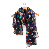 2016 New Trendy Hot Sale Women S Scarves Printed Vintage Owl Branches Scarf Ladies Scarves Charming