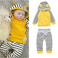 Hot Sale Newborn Baby Girl Boy Clothes New 2017 Yellow Blue Pink Hooded Coats + Striped Pants 2 Pcs Infant Clothing Sets BBS059