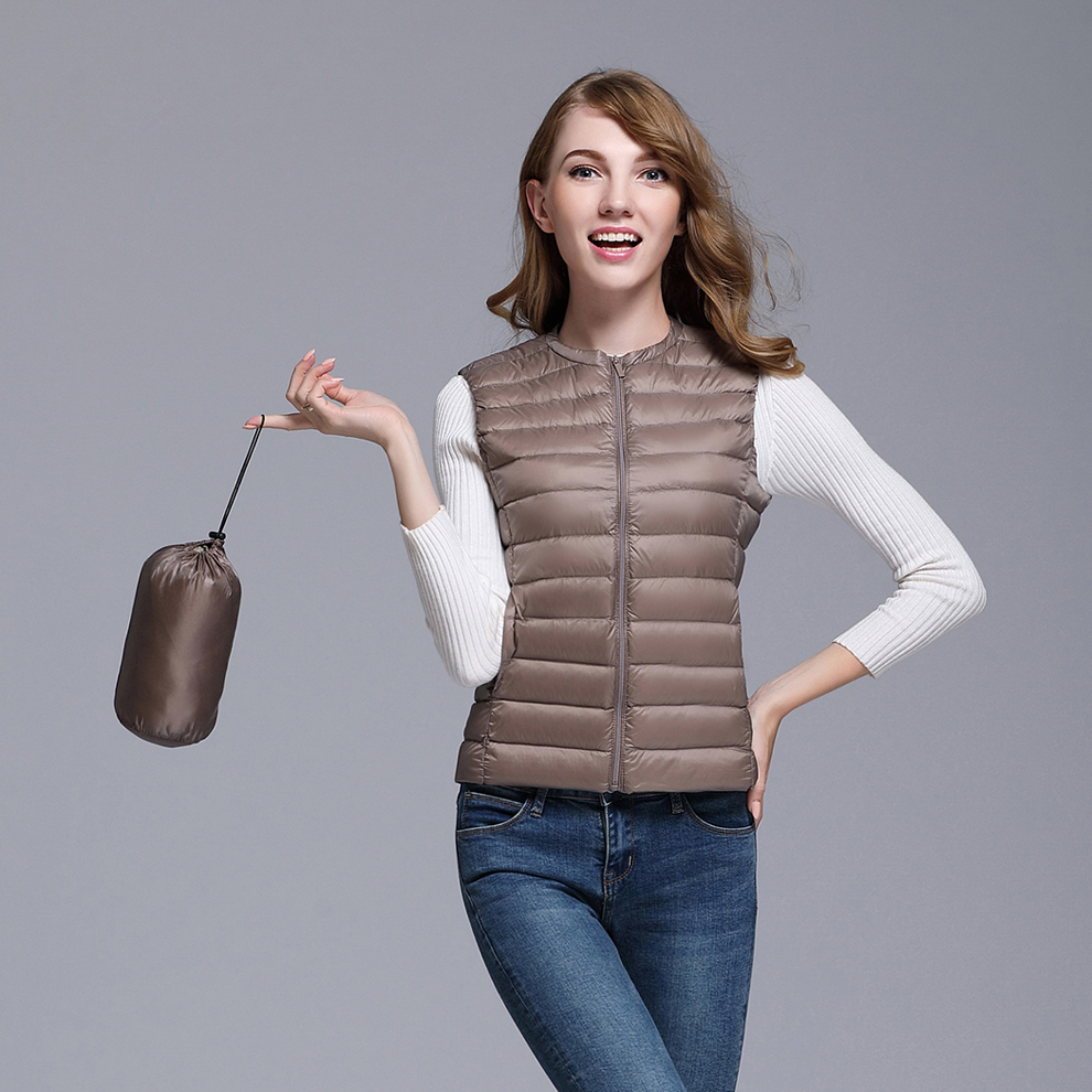 Ultra Thin Down Vest Women Plus Size Sleeveless Jacket Light White Duck Down Coat Winter Jacket Women  Winter Vest BOoDinerinle