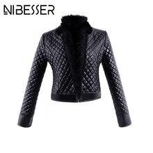 NIBESSER Women PU Leather Jackets Long Sleeve Winter Warm Short Jackets Plus Size 3XL Faux Fur Collars Motorcycle Jacket Z30