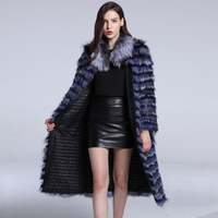 2018 New Autumn Winter Jacket Women Coat Parkas Natural Real Fox Fur Thick Warm Btreetwear Outerwear Fur Strip Sewed Toghter