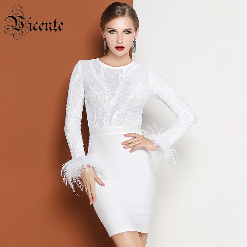 Vicente All Free Shipping HOT Stylish Sequins Feather Long Sleeves Mesh Splicing Wholesale Celebrity Party Bandage