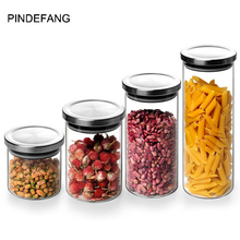 PINDEFANG Clear Glass Airtight Storage Canister with Stainless Steel Lid Kitchen Food Storage Nuts Jar Shop Goods Displaying OEM