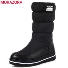 MORAZORA בתוספת גודל 35 44 חדש שלג מגפי נשים חם כותנה למטה נעליים עמיד למים מגפי פרווה פלטפורמת אמצע עגל מגפיים שחור