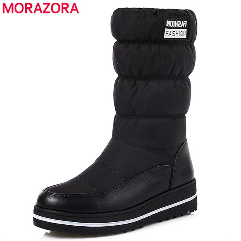 MORAZORA Plus größe 35-44 neue schnee stiefel frauen warme baumwolle unten schuhe wasserdichte stiefel fell plattform mitte wade stiefel schwarz