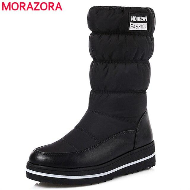 Morazora/Большие Размеры 35-44; новые зимние сапоги женская утепленная хлопковая обувь с подкладкой водонепроницаемые ботинки на платформе с мехом до середины икры сапоги черный
