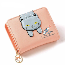 Women Wallet Coins Purse Leather Bag Female Sweet Cat Pattern Zipper Small For Girls Card Holder Money