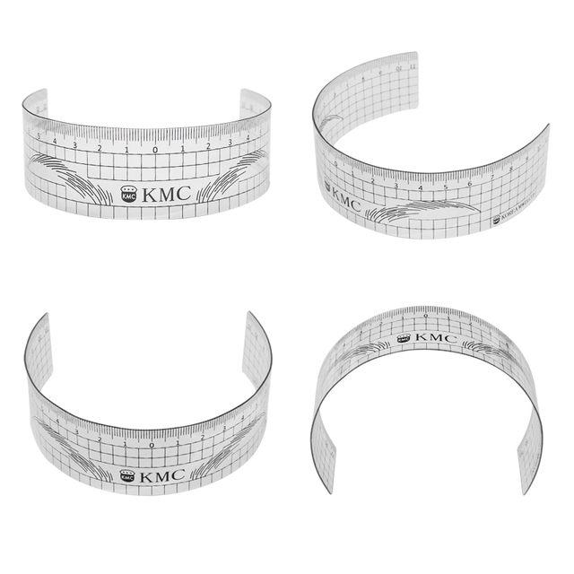 Microblading Eyebrow Ruler 3Pcs Permanent Makeup Plastic Transparent Measure Shaping Tool Reusable Eyebrow Stencil Tattoo Supply 3